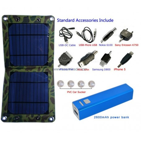 Universal Solar Charger Kit 7 Watts and Powerbank 2600 mAh