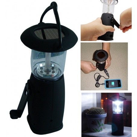 Lanterne Chargeur de Secours à Energie Solaire et Dynamo