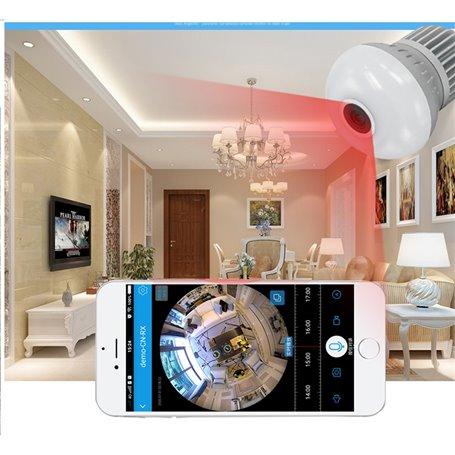 Led Wifi 1280x720p Espion Hd Lampe Panoramique À Caméra Vision Avec 8nvO0Nwm