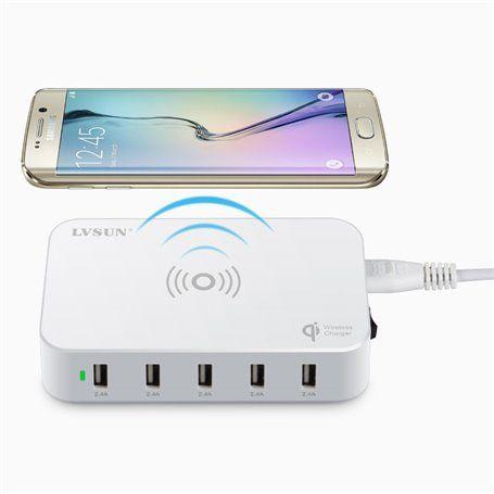 Estación de carga inteligente 5 puertos USB 60 vatios compatible con Qi Lvsun - 2