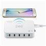 Station de Recharge Intelligente 5 Ports USB 60 Watts Sans Fil Wireless Qi