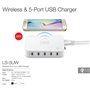 Portas USB da estação de carregamento inteligente 5 60 Watts Qi compatível Lvsun - 1