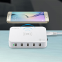 Portas USB da estação de carregamento inteligente 5 60 Watts Qi compatível Lvsun - 3