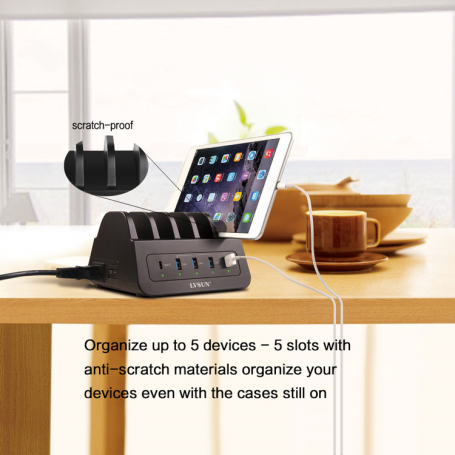 Station de Recharge Intelligente 5 Ports USB 60 Watts Quick Charger QC 2.0 et Dock