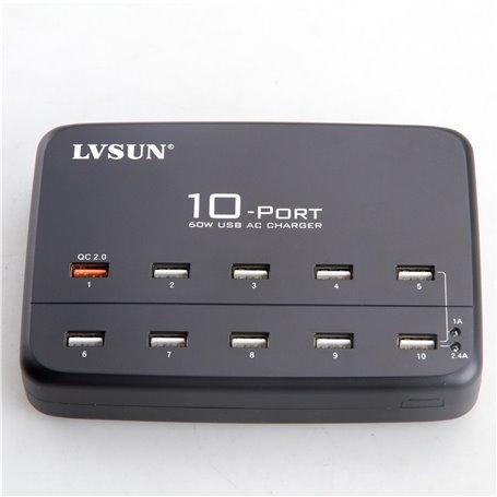 Estação de carregamento inteligente 10 portas USB 60 Watts LS-10UA Lvsun - 3