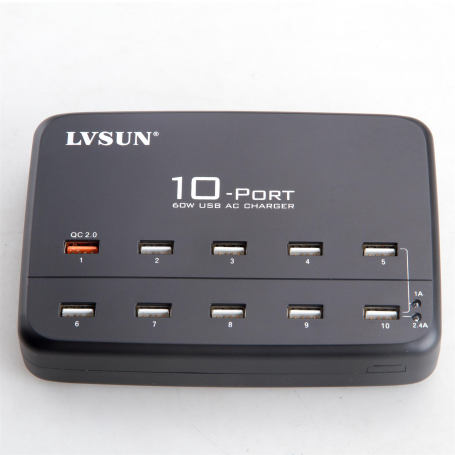 Smart 10-Port USB Charging Station 60 Watts