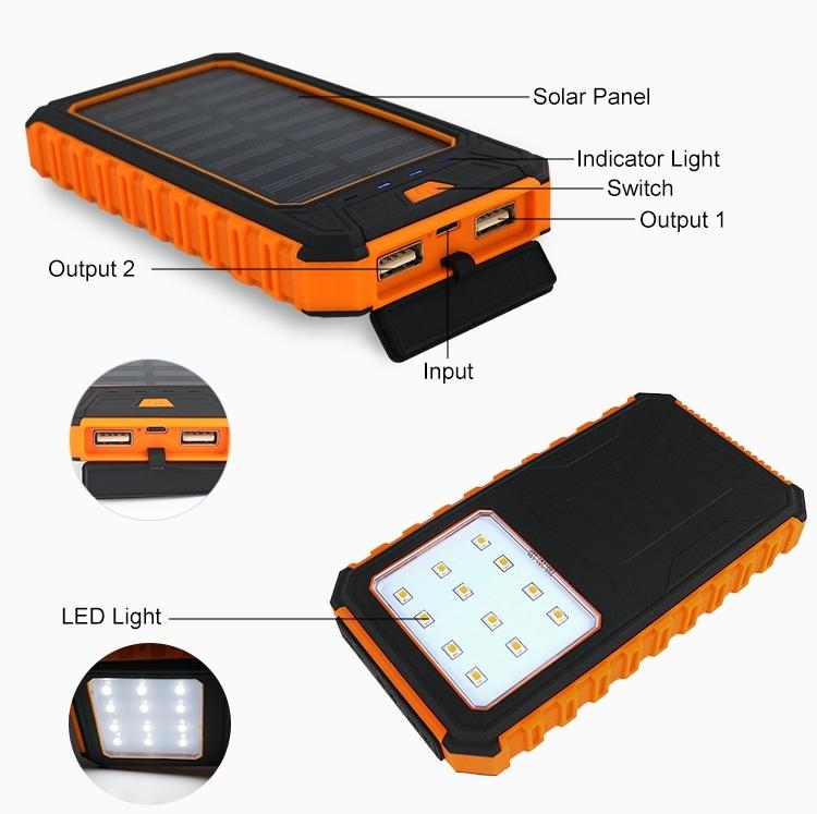 batterie externe portable 10000 mah avec chargeur solaire. Black Bedroom Furniture Sets. Home Design Ideas