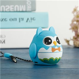 Mini Haut-Parleur Bluetooth Design Cartoon Hibou Bleu