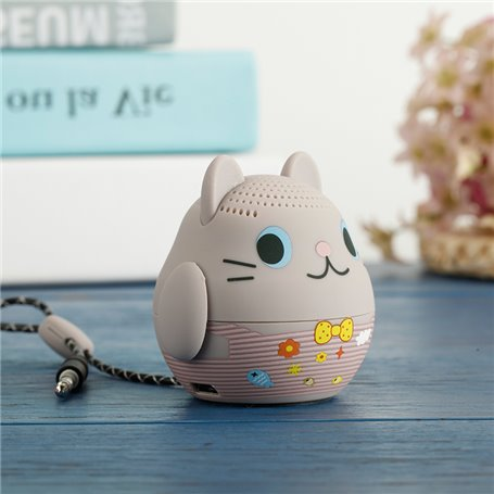 Cartoon Grey Cat Bluetooth Speaker