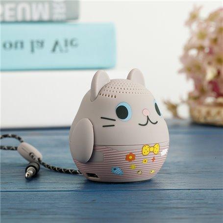 Mini Haut-Parleur Bluetooth Design Cartoon Chat Gris