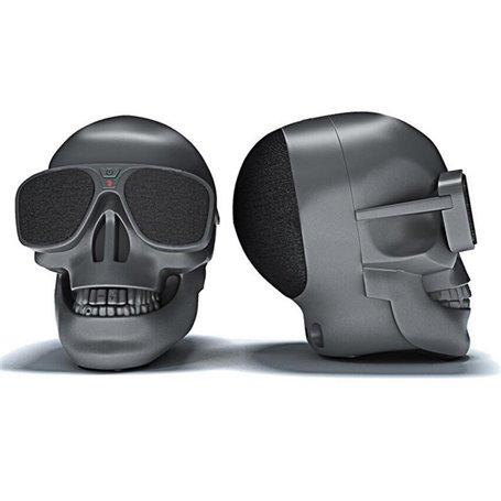 Mini Haut-Parleur Bluetooth Design Crâne avec Lunettes de Soleil