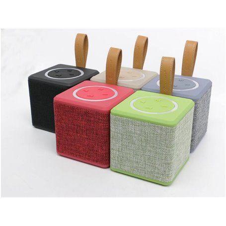 Mini Haut-Parleur Bluetooth Design Cube en Toile Rétro