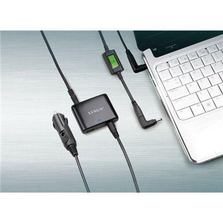 Uniwersalny ultra-cienki 90-watowy adapter z wyświetlaczem LCD i wyjściem USB do zapalniczki Lvsun - 4