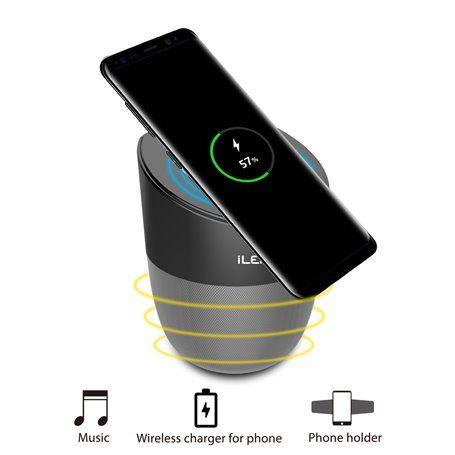 Mini Haut-Parleur Bluetooth et Chargeur Sans Fil Compatible Qi et Station d'Accueil