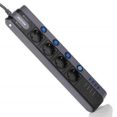 Tira de energia mista protegida de 250 Volts e USB 5 Volts 4Plus4 Bestek - 1