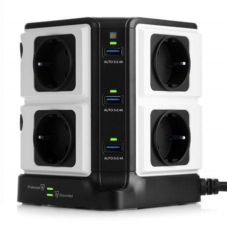Tira de energia mista protegida de 250 volts e 5 volts USB 8Plus6 Bestek - 1