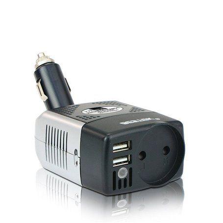 250 volt en 5 volt USB-beveiligde omvormerblok met meerdere stopcontacten op een sigarettenaansteker van 150 watt Bestek - 1