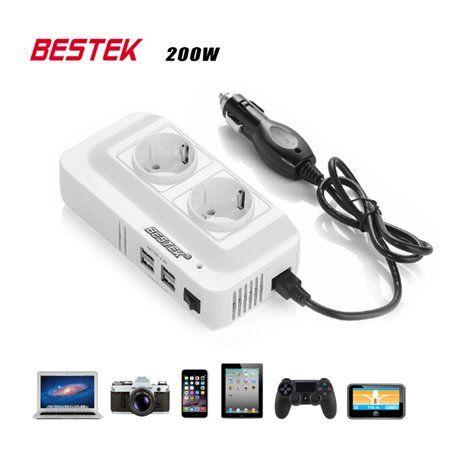Blocco inverter multiplo a 250 volt con protezione mista e 5 volt USB su accendisigari 200 watt Bestek - 1