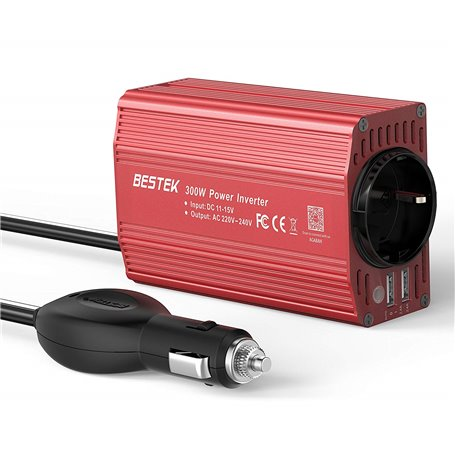 Car Power Inverter with 250VAC and USB 5VDC Plugs 300 Watts