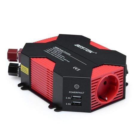 Bloco inversor de múltiplas tomadas, protegido de 250 Volts, e 5 Volts USB no isqueiro de 400 Watts Bestek - 1