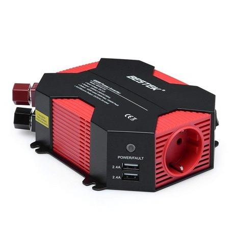 Car Power Inverter with 250VAC and USB 5VDC Plugs 400 Watts