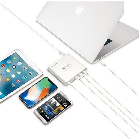 Station de Recharge Ultra-Rapide 87 Watts 3 Ports USB-A et 1 Port USB-C PD 3.0 et QC 3.0