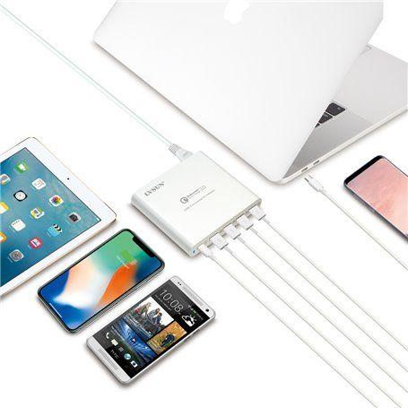 Stazione di ricarica ultraveloce da 80 watt 4 porte USB-A e 1 U ... Lvsun - 1