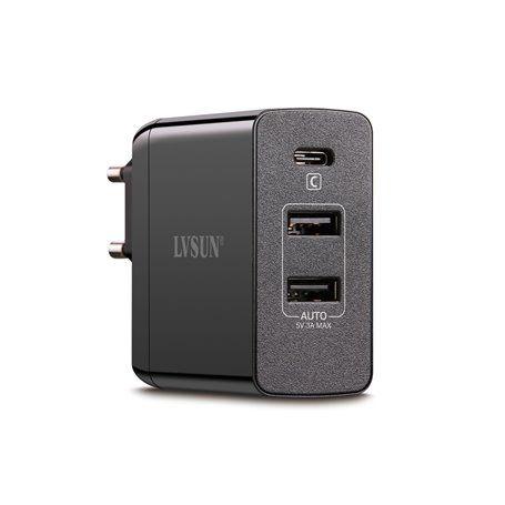 Estação de carregamento ultra-rápida de 45 Watts 2 portas USB-A e 1 U ... Lvsun - 1