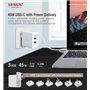 Ultraszybka stacja ładująca o mocy 45 W 2 porty USB-A i 1 port USB-C PD 3.0 i QC 3.0 Lvsun - 3