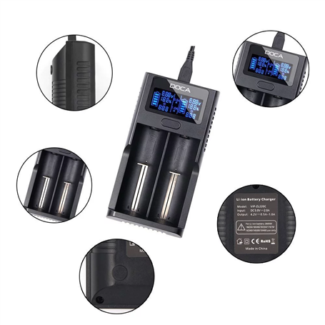 LCD Display Universal 3.7 Volts Smart Li-ion Rechargeable Battery Charger Doca - 1