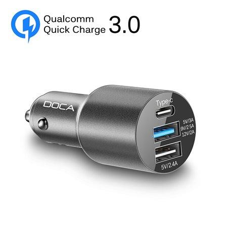 Presa accendisigari tripla caricabatterie USB con ricarica rapida QC 3.0 Doca - 2