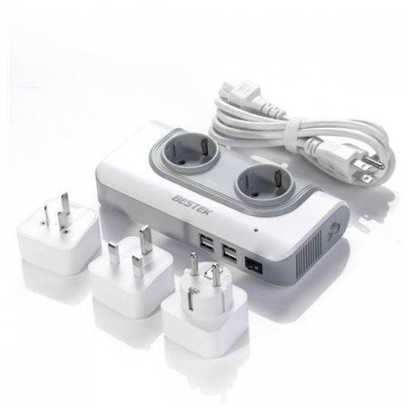 100-240 V Blok ochronny z mieszanym gniazdem podróżnym UK / AU / UE i 5 woltów USB 4Plus2 Bestek - 1