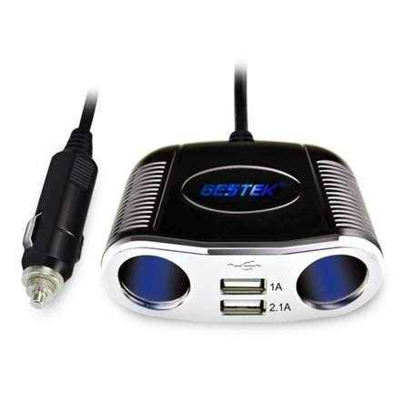 2-Socket Car Cigarette Lighter Adapter Splitterwith 3.1A Dual USB Bestek - 1