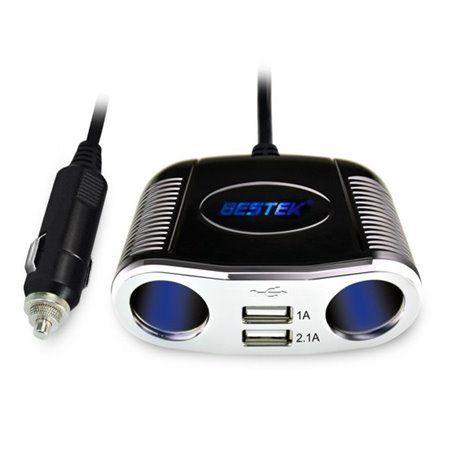 2-Socket Car Cigarette Lighter Adapter Splitterwith 3.1A Dual USB
