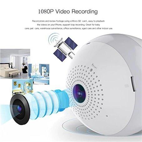 Lâmpada LED com câmera espiã de 2,0 megapixels Wifi com visão panorâmica Full HD 1920x1080p GA-A9R GatoCam - 1